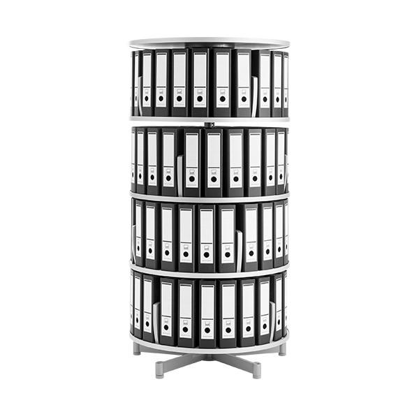 Binder Carousel Shelving w/ Floor Base - Four Tier