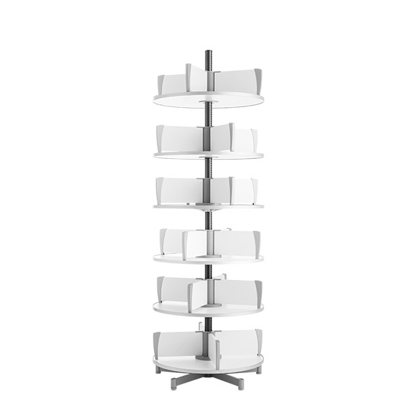 Binder Carousel Shelving w/ Floor Base - Six Tier