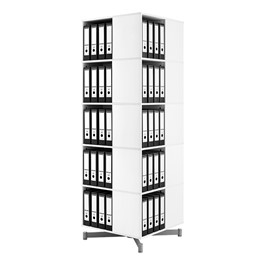 Spin-N-Store Square Rotary Book Carousel - White (Five Tier)