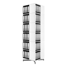 Spin-N-Store Square Rotary Book Carousel - White (Six Tier)