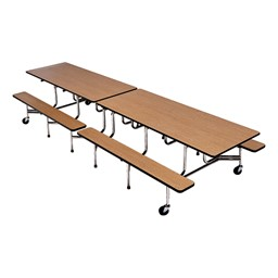 Mobile Bench School Cafeteria Table - Chrome Frame w/ Black Edge Band - Shown w/ Bannister Oak laminate