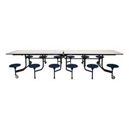 The Intermediate Mobile Dark Navy Stool Cafeteria Table - Black Powder Coat Frame w/ Black Edge Band - Shown w/ Gray Nebula laminate
