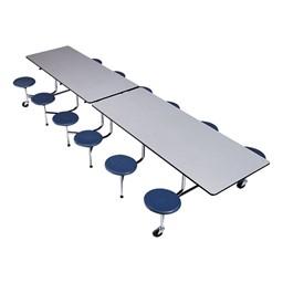 The Executive Mobile Dark Navy Stool Cafeteria Table - Chrome Frame w/ Black Edge Band - Shown w/ Gray Nebula laminate