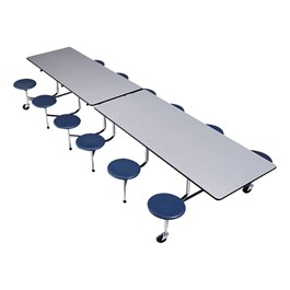 The Executive Mobile Dark Navy Stool Cafeteria Table - Chrome Frame w/ Black Edge Band - Shown w/ Gray Nebula laminate