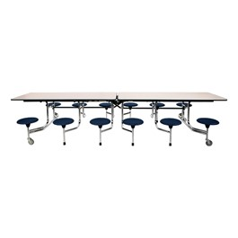 The Intermediate Dark Navy Mobile Stool Cafeteria Table - Chrome Frame w/ Black Edge Band
