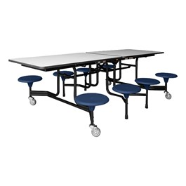 The Instructor Mobile Dark Navy Stool Cafeteria Table - Black Powder Coat Frame w/ Black Edge Band - Shown w/ Gray Nebula laminate