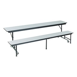 AdapTable Mobile Convertible Bench Cafeteria Table - Shown w/ Gray Nebula laminate