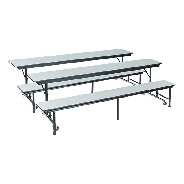 AdapTable Mobile Convertible Bench Cafeteria Table - Shown w/ Gray Nebula laminate - Two tables shown
