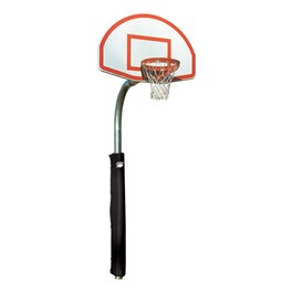 Heavy-Duty Playground Basketball Hoop w/ Finished Aluminum Backboard<br>Padding not included