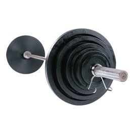 Black Cast Olympic Weight Set w/ Chrome Bar (400 lbs)
