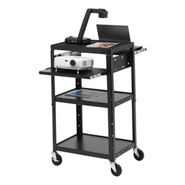 Adjustable Steel AV Notebook Cart w/o Cabinet (Dual Pull Out Shelves)