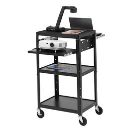 Adjustable Steel AV Notebook Cart w/o Cabinet (Dual Pull Out Shelves)