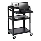 Adjustable Steel AV Notebook Cart w/ One Shelf