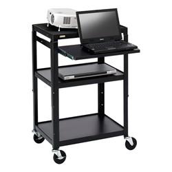 Adjustable Steel AV Notebook Cart w/ One Shelf