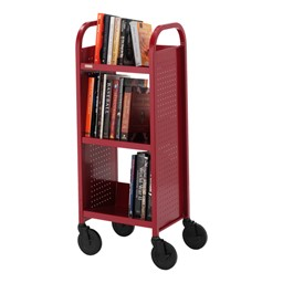 "Contemporary Single-Sided Book Truck (17"" W) - Shown in cardinal red"