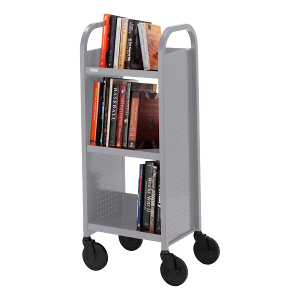 "Contemporary Single-Sided Book Truck (17"" W) - Shown in aluminum gray"