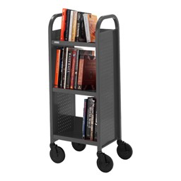 "Contemporary Single-Sided Book Truck (17"" W) - Shown in anthracite gray"