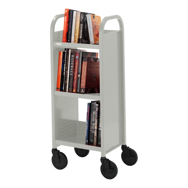 "Contemporary Single-Sided Book Truck (17"" W) - Shown in gray mist"