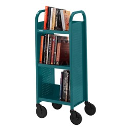 "Contemporary Single-Sided Book Truck (17"" W) - Shown in polo green"