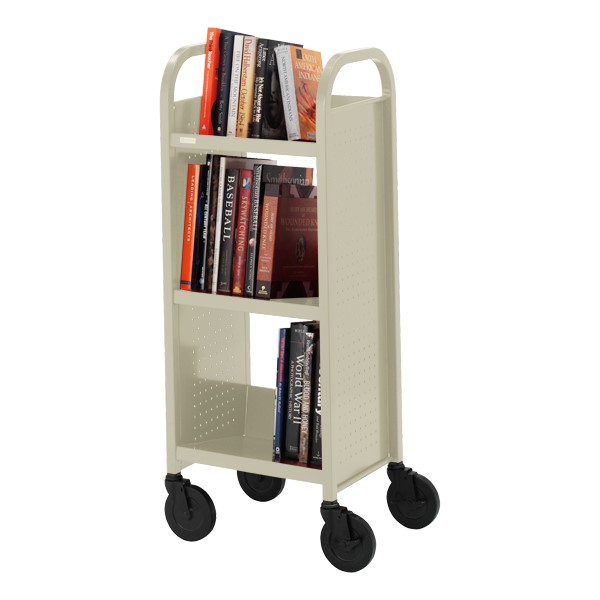 "Contemporary Single-Sided Book Truck (17"" W) - Shown in putty beige"