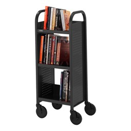 "Contemporary Single-Sided Book Truck (17"" W) - Shown in raven black"