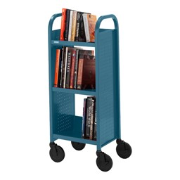 "Contemporary Single-Sided Book Truck (17"" W) - Shown in topaz blue"