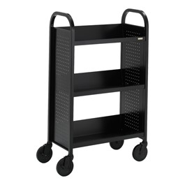 "Contemporary Single-Sided Book Truck (27"" W) - Shown in raven black"