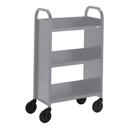 "Contemporary Single-Sided Book Truck (27"" W) - Shown in aluminum gray"