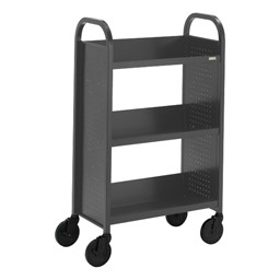 "Contemporary Single-Sided Book Truck (27"" W) - Shown in anthracite gray"