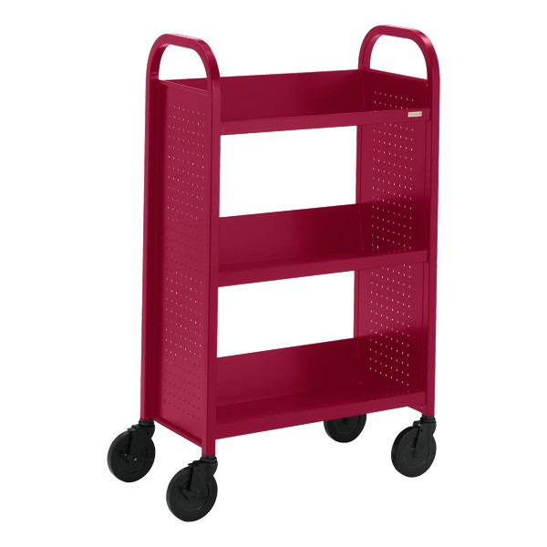 "Contemporary Single-Sided Book Truck (27"" W) - Shown in cardinal red"