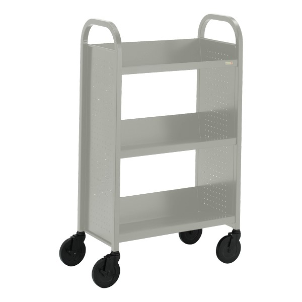 "Contemporary Single-Sided Book Truck (27"" W) - Shown in gray mist"