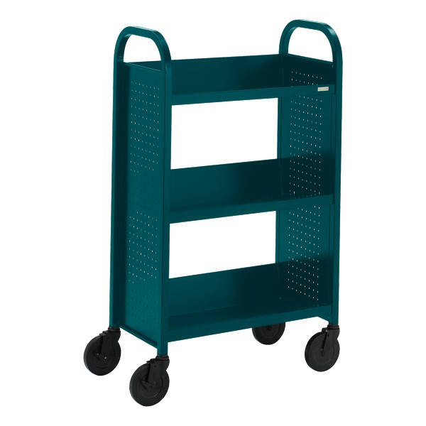 "Contemporary Single-Sided Book Truck (27"" W) - Shown in polo green"