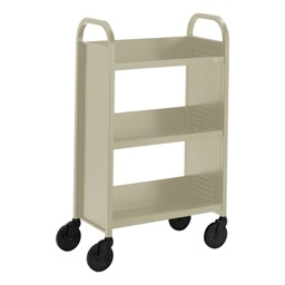 "Contemporary Single-Sided Book Truck (27"" W) - Shown in putty beige"