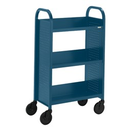 "Contemporary Single-Sided Book Truck (27"" W) - Shown in topaz blue"
