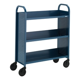 "Contemporary Single-Sided Book Truck (36"" W) - Shown in topaz blue"