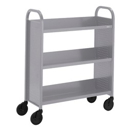 "Contemporary Single-Sided Book Truck (36"" W) - Shown in aluminum gray"