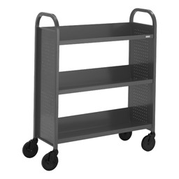 "Contemporary Single-Sided Book Truck (36"" W) - Shown in anthracite gray"
