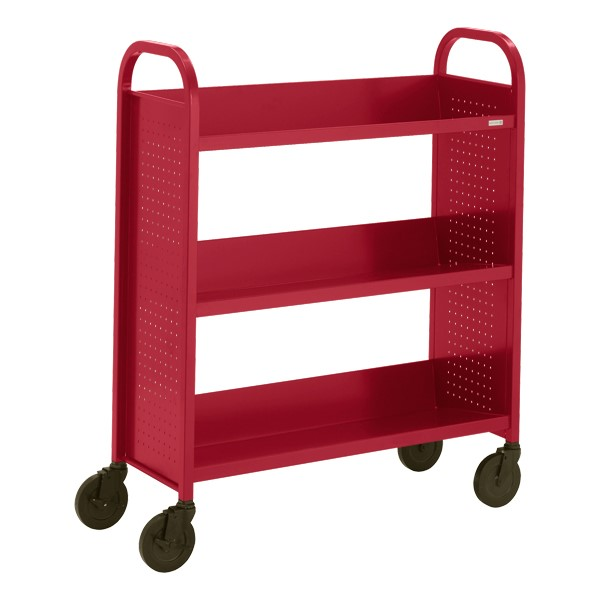"Contemporary Single-Sided Book Truck (36"" W) - Shown in cardinal red"
