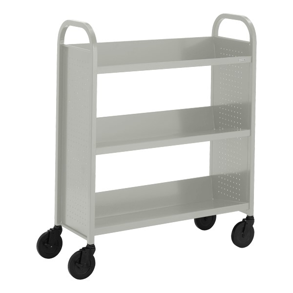 "Contemporary Single-Sided Book Truck (36"" W) - Shown in gray mist"