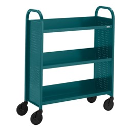 "Contemporary Single-Sided Book Truck (36"" W) - Shown in polo green"