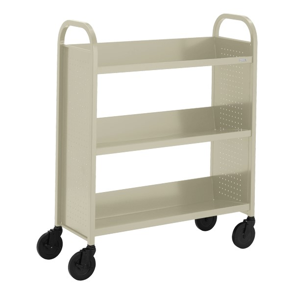 "Contemporary Single-Sided Book Truck (36"" W) - Shown in putty beige"