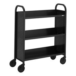 "Contemporary Single-Sided Book Truck (36"" W) - Shown in raven black"