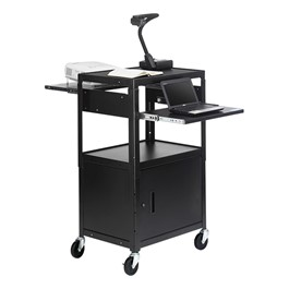 Adjustable Steel AV Notebook Cart w/ Cabinet (Dual Pull Out Shelves)