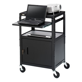 Adjustable Steel AV Notebook Cart w/ Cabinet (One Pull Out Shelf)