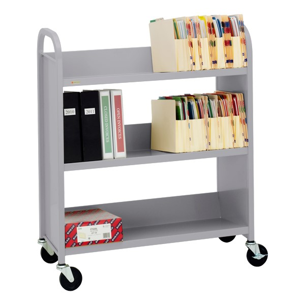 "43"" H Traditional Single-Sided Book Cart - Shown in aluminum gray"