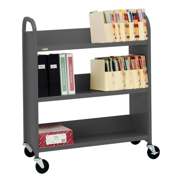"43"" H Traditional Single-Sided Book Cart - Shown in anthracite gray"
