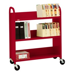 "43"" H Traditional Single-Sided Book Cart - Shown in cardinal red"