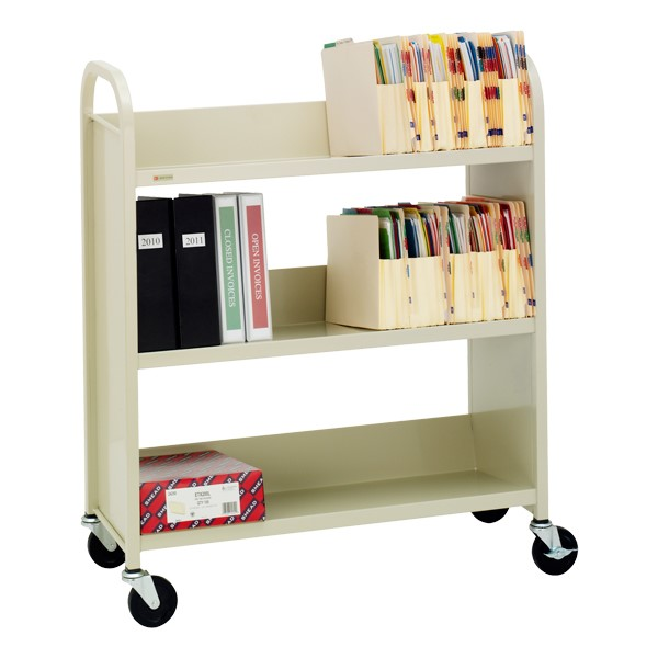 "43"" H Traditional Single-Sided Book Cart - Shown in putty beige"