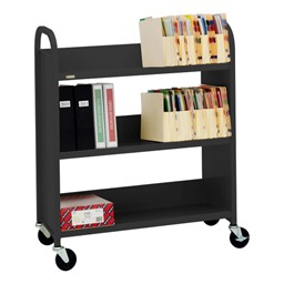 "43"" H Traditional Single-Sided Book Cart - Shown in raven black"