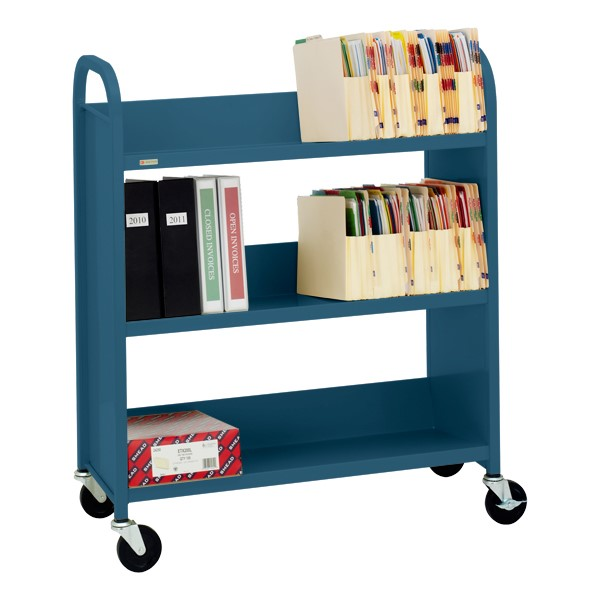 "43"" H Traditional Single-Sided Book Cart - Shown in topaz blue"